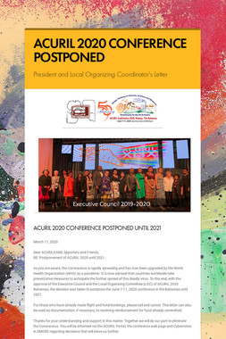 ACURIL 2020 CONFERENCE POSTPONED