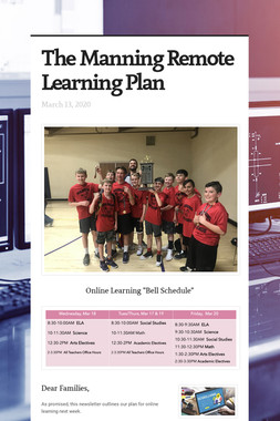 The Manning Remote Learning Plan