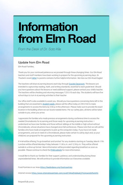 Information from Elm Road