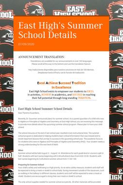 East High's Summer School Details