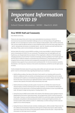 Important Information - COVID 19