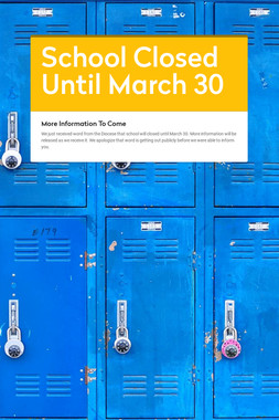 School Closed Until March 30