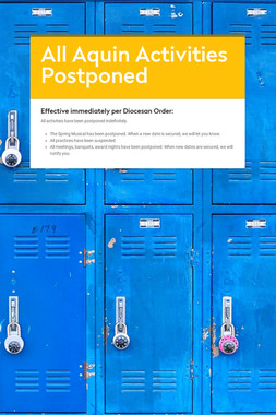 All Aquin Activities Postponed