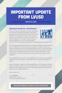 Important Update from LVUSD