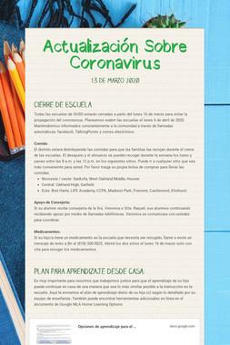 Actualización Sobre Coronavirus
