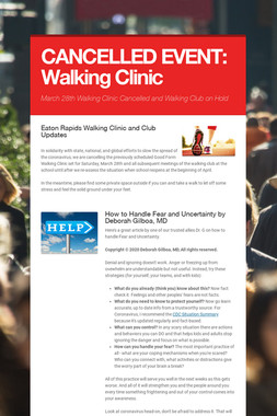 CANCELLED EVENT: Walking Clinic