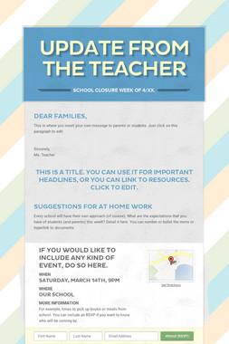 Update from the Teacher