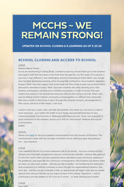 MCCHS ~ We Remain Strong!