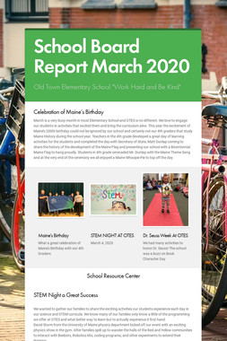 School Board Report March 2020