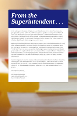 From the Superintendent . . .