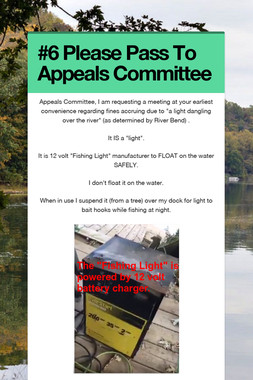#6 Please Pass To Appeals Committee