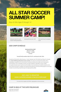 ALL STAR SOCCER SUMMER CAMPS!