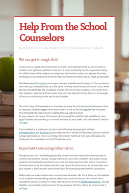 Help From the School Counselors