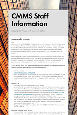 CMMS Staff Information