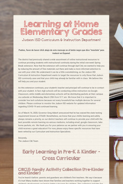Learning at Home  Elementary Grades