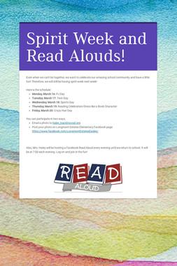Spirit Week and Read Alouds!