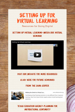 Setting up for Virtual Learning
