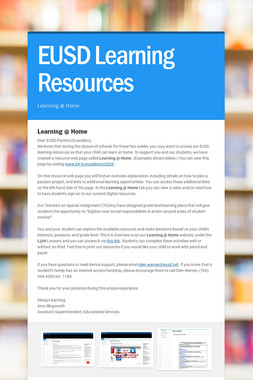EUSD Learning Resources