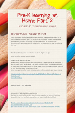 Pre-K learning at Home Part 2