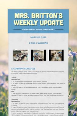 Mrs. Britton's Weekly Update