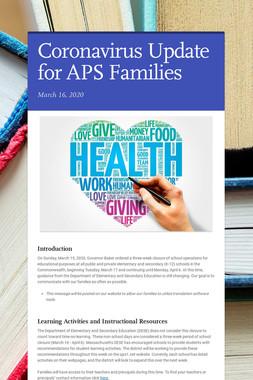 Coronavirus Update for APS Families