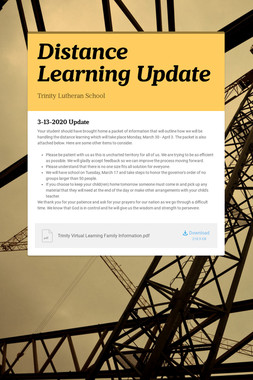 Distance Learning Update