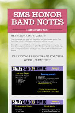 SMS Honor Band Notes