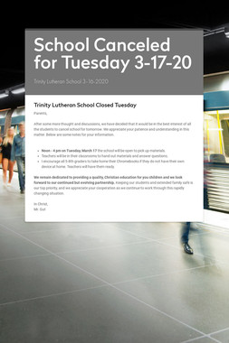 School Canceled for Tuesday 3-17-20