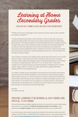 Learning at Home  Secondary Grades