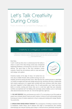 Let's Talk Creativity During Crisis