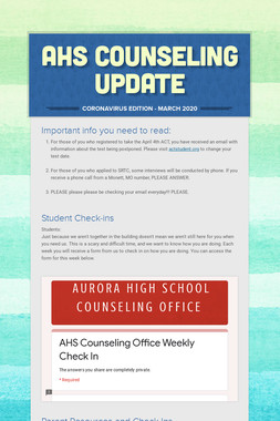 AHS COUNSELING UPDATE