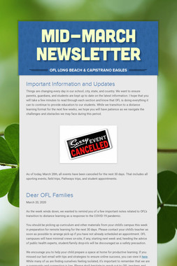 Mid-March Newsletter