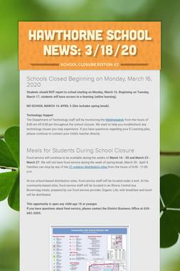 Hawthorne School News: 3/18/20