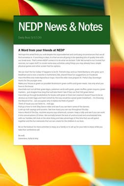 NEDP News & Notes