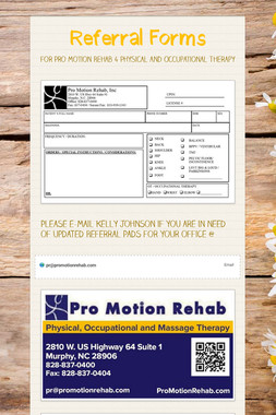 New Referral Forms Pro Motion Rehab