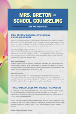Mrs. Breton - School Counseling