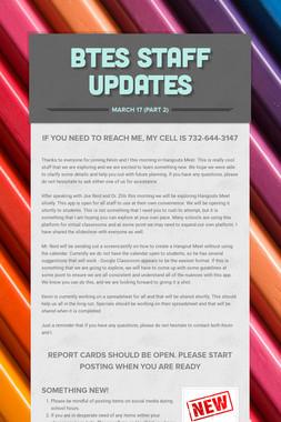 BTES Staff Updates