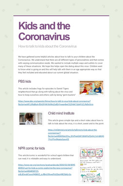Kids and the Coronavirus