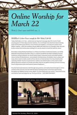 Online Worship for March 22