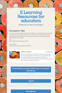 E Learning Resources for educators