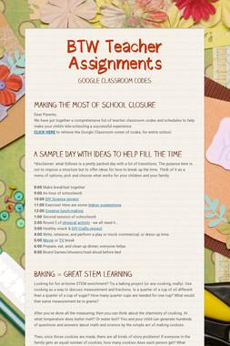 BTW Teacher Assignments
