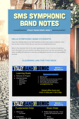SMS Symphonic Band Notes