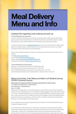 Meal Delivery Menu and Info