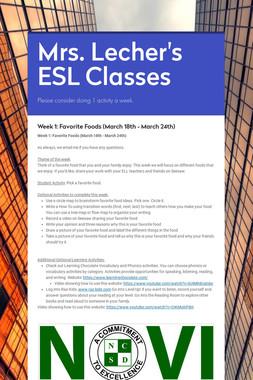 Mrs. Lecher's ESL Classes