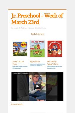 Jr. Preschool - Week of March 23rd