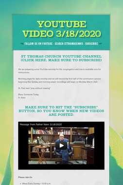 YouTube Video 3/18/2020