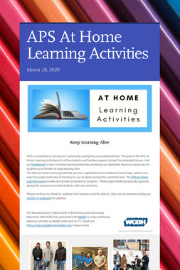 APS At Home Learning Activities