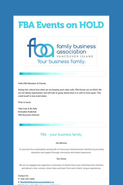 FBA Events on HOLD