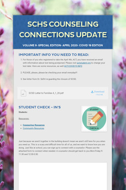 SCHS Counseling Connections Update