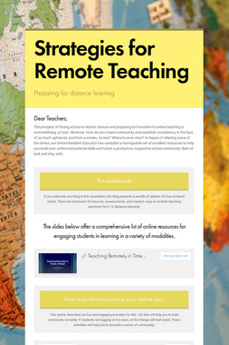 Strategies for Remote Teaching